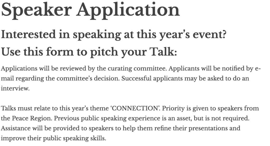 To apply for a TED Talk, first find the speaker application