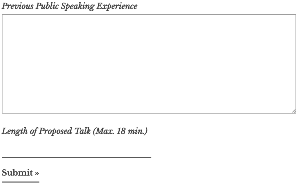 TEDx speaker application form 5