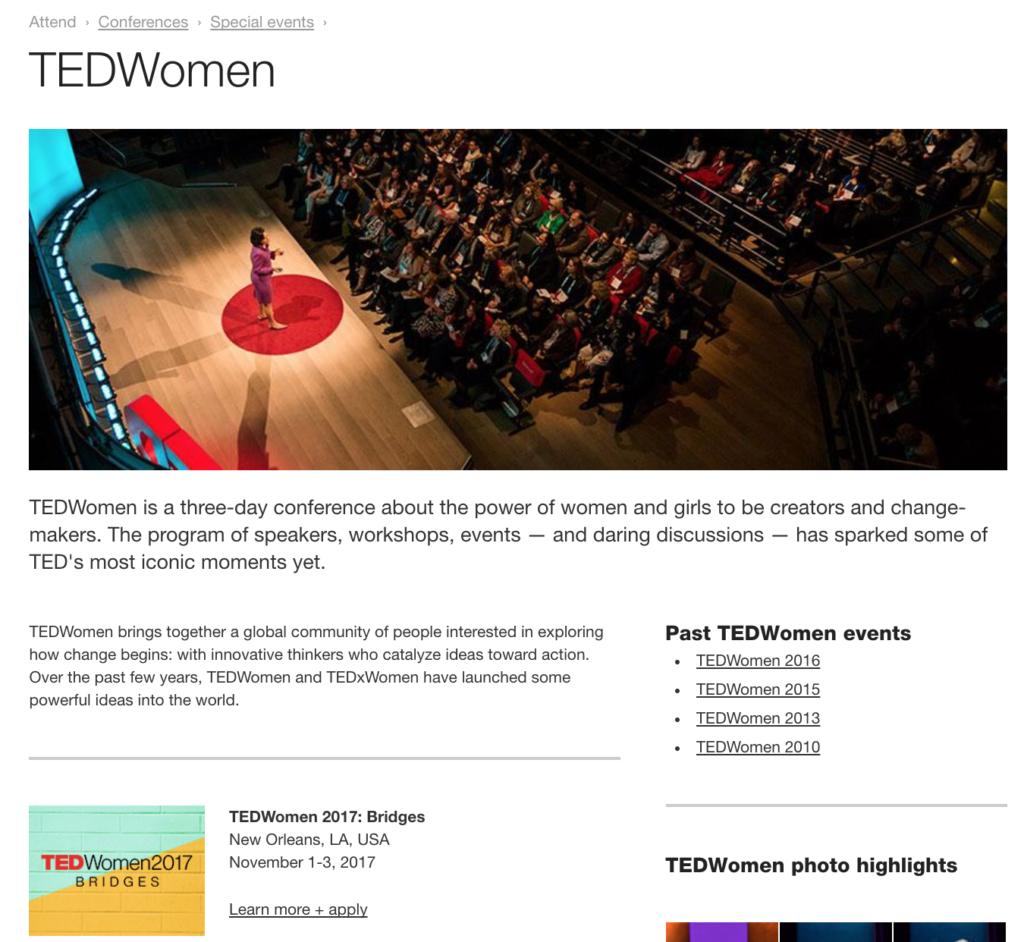 TEDWomen website