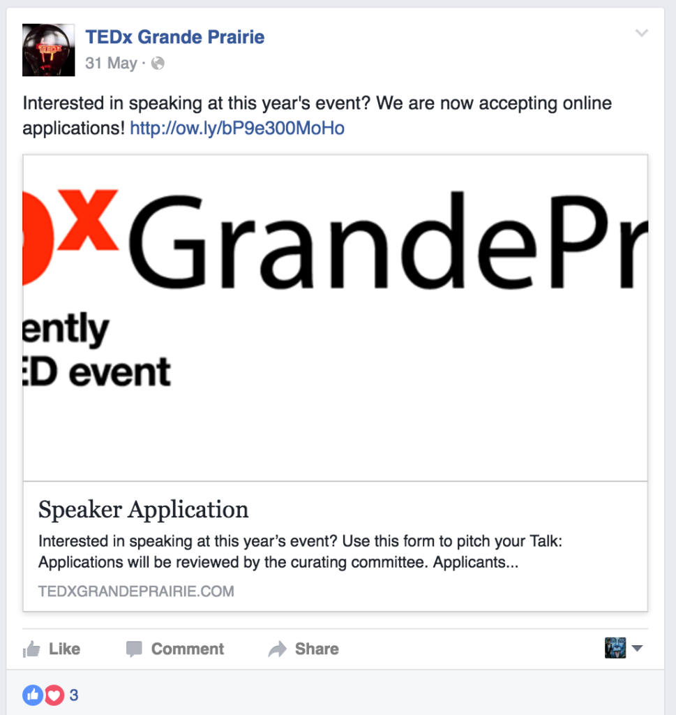 TEDx Facebook post about speaker applications