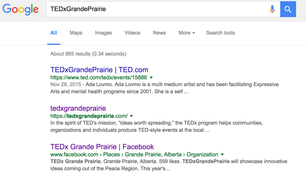 TEDx Google search
