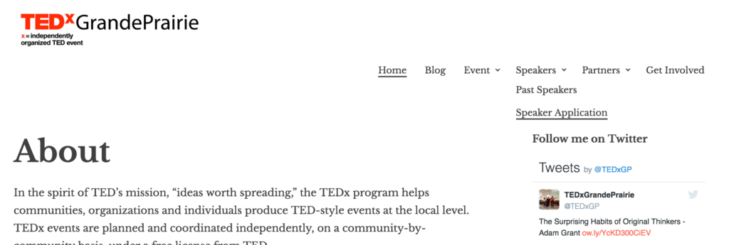 TEDx event website